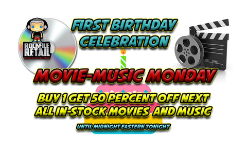 TODAY'S SALE EVENT:  MOVIE/MUSIC MONDAY