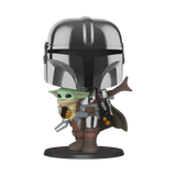 "Pop! Star Wars - 10"" Chrome Mandalorian w/The Child (PRE-ORDER)"