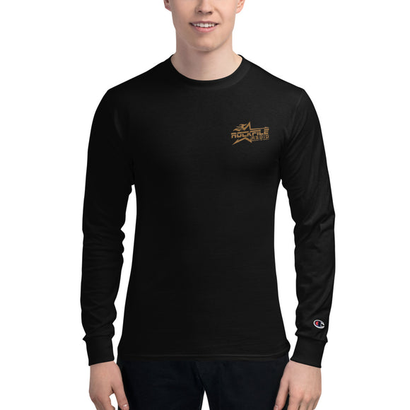 OFFICIAL ROCKFILE RADIO LOGO EMBROIDERED Men's Champion Long Sleeve Shirt