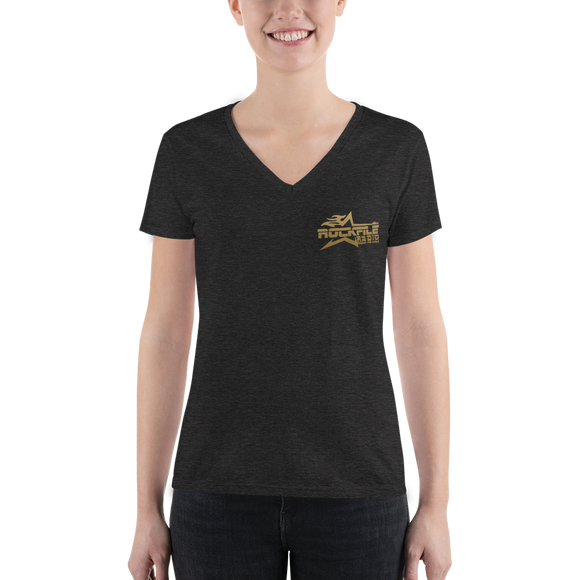Rockfile Radio Pocket Logo Women's Fashion Deep V-neck Tee
