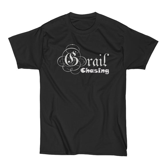 GRAIL CHASING (White on Black) Men's Short Sleeve Beefy-T