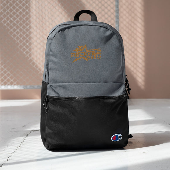 OFFICIAL ROCKFILE RADIO LOGO Embroidered Champion Backpack