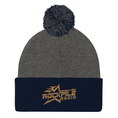 Rockfile Radio Embroidered Pom Pom Knit Cap