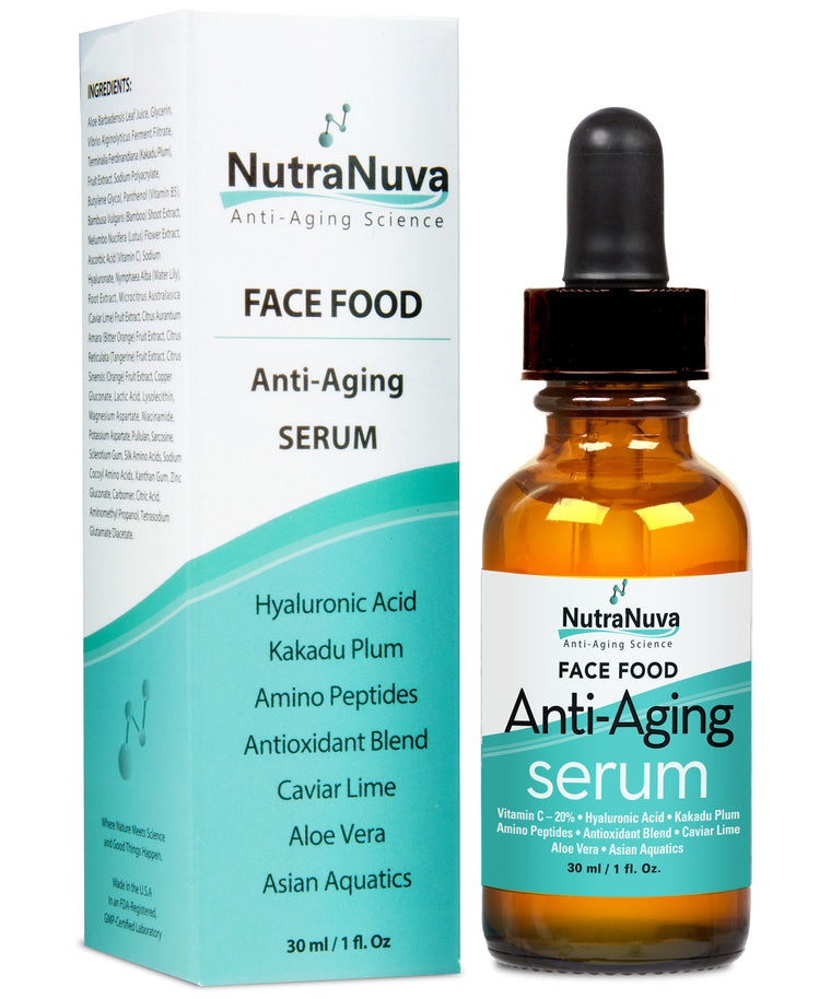 FACE FOOD Anti-Aging Serum Complex with 20% C that Visibly Reduces Fine Lines and Wrinkles, VEGAN Formula - 1 oz.