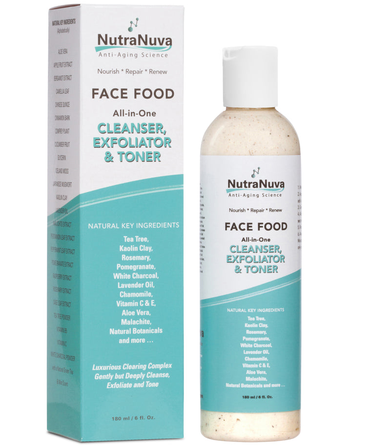 FACE FOOD Cleanser, Exfoliator & Toner All-in-One for Brighter, Smoother, More Radiant Skin, Concentrated VEGAN Formula - 6 oz.