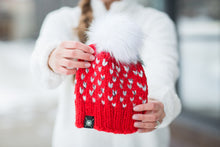 Tiny Hearts Faux Fur Beanie in XOXO