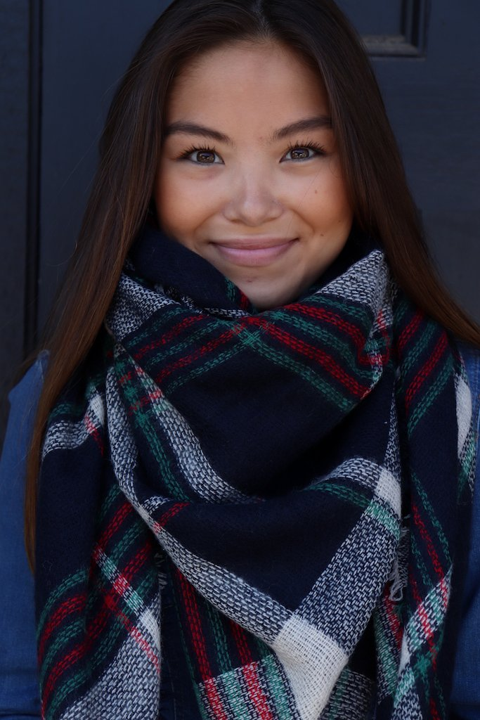 Navy Plaid Blanket Scarf