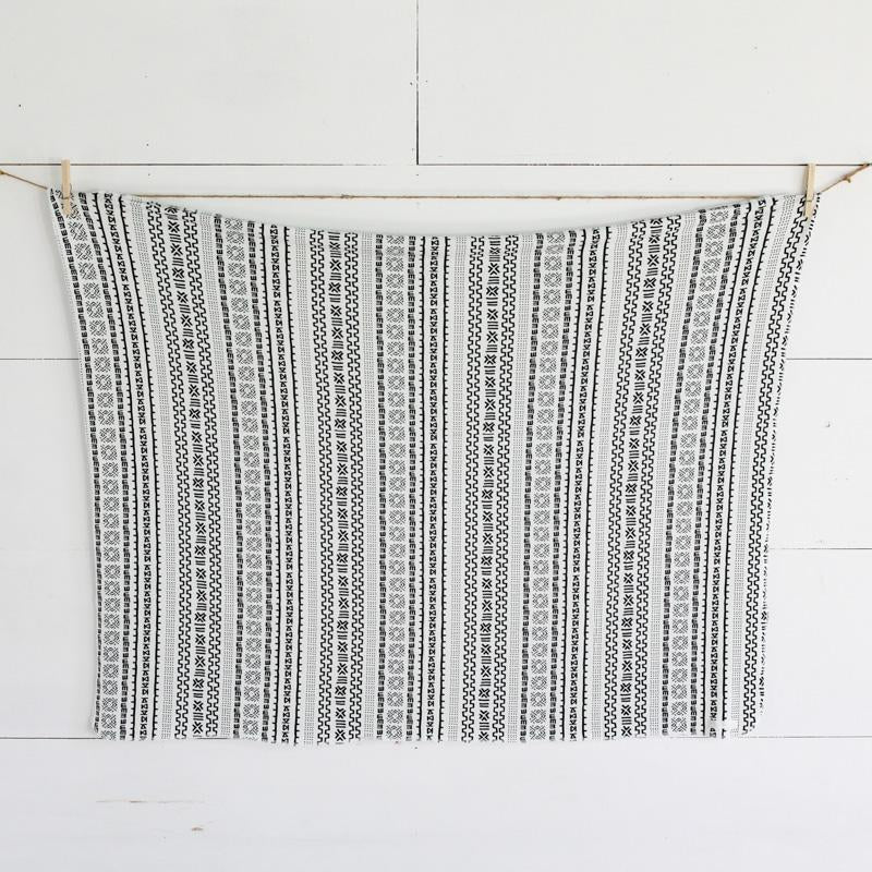 White Geometric Swaddle Blanket