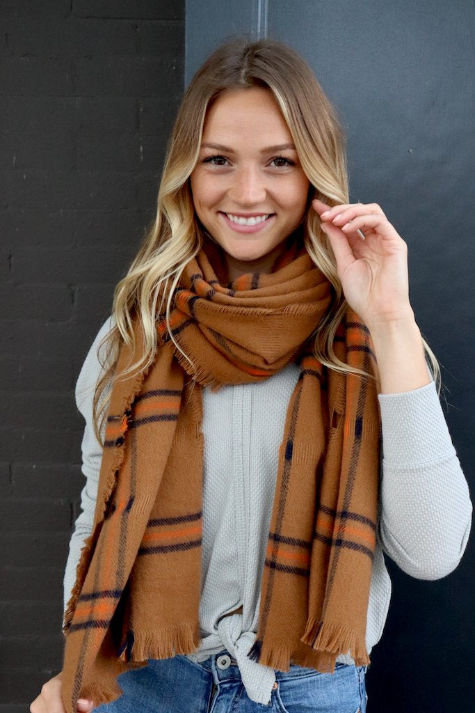 Long Brown + Orange Scarf
