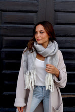 Long Grey Fuzzy Scarf with Fringe