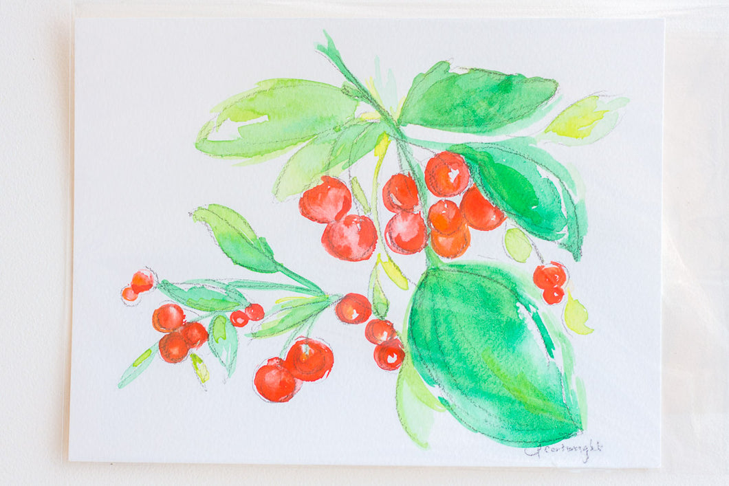 Red Cherry + Leaves Watercolor Print