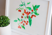 Red Cherries Watercolor Print
