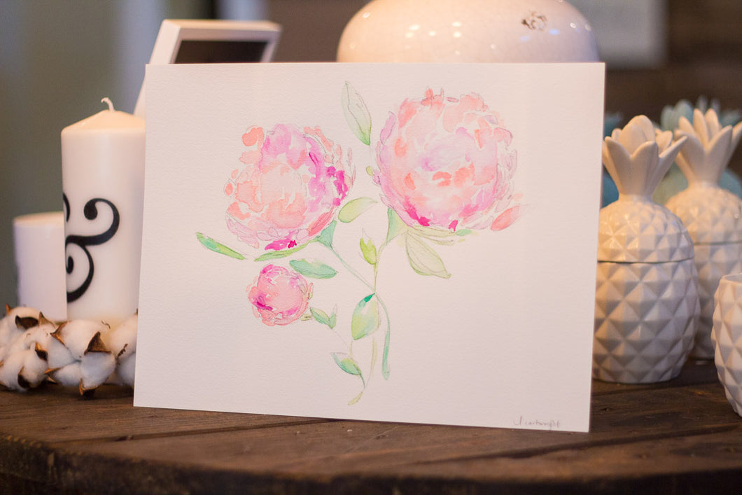 Light Pink Hydrangea Watercolor Print