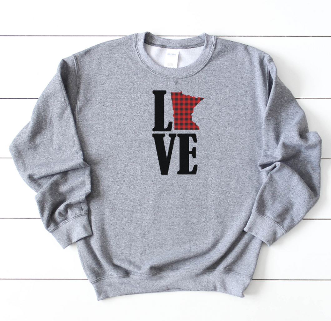 Minnesota Love Buffalo Check Sweatshirt