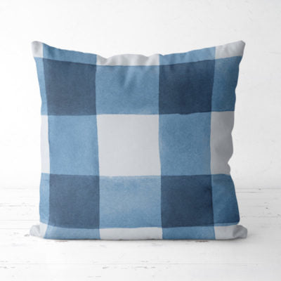 Up North Market Blue Plaid Pillow
