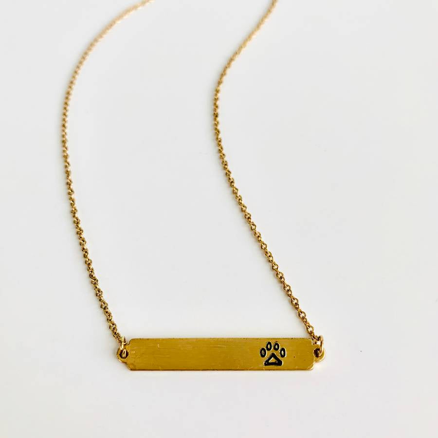 Paw Print Bar Necklace
