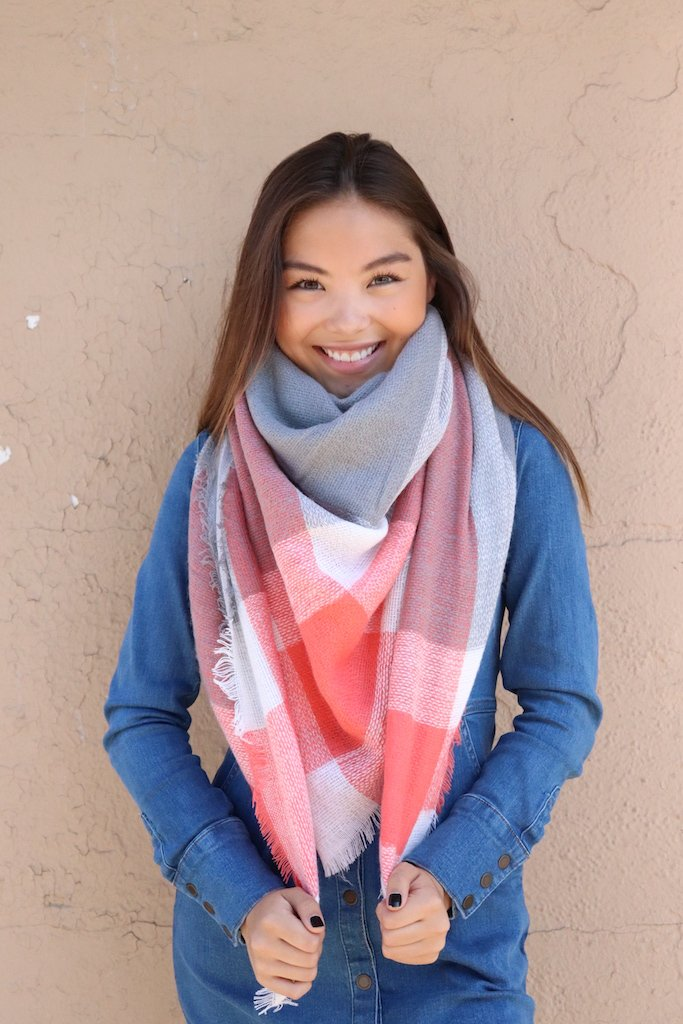 Orange + Grey Blanket Scarf