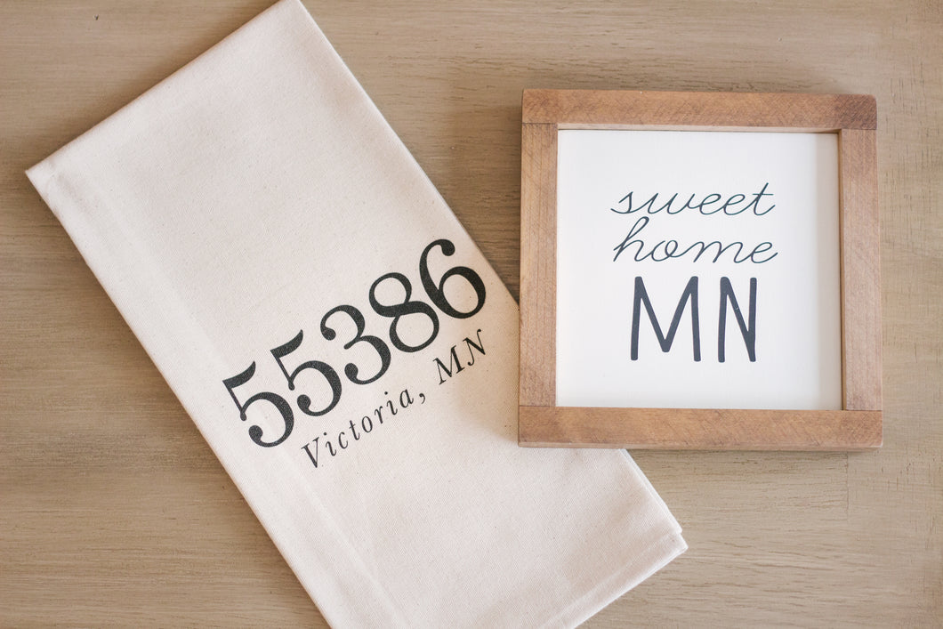 Zip Code Tea Towel