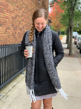 Black and White Fuzzy Scarf with Tassels