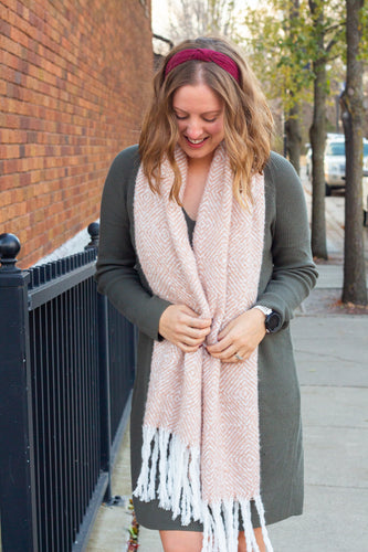 Dusty Pink Fuzzy Scarf With Tassels