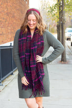 Fuzzy Maroon Plaid Scarf With Tassels