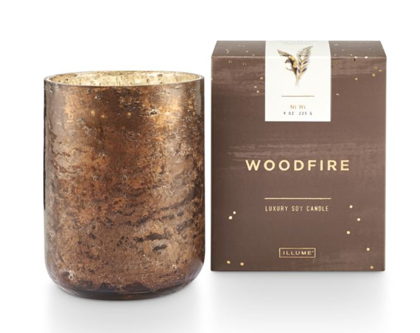 Woodfire Small Luxe Sanded Mercury Glass