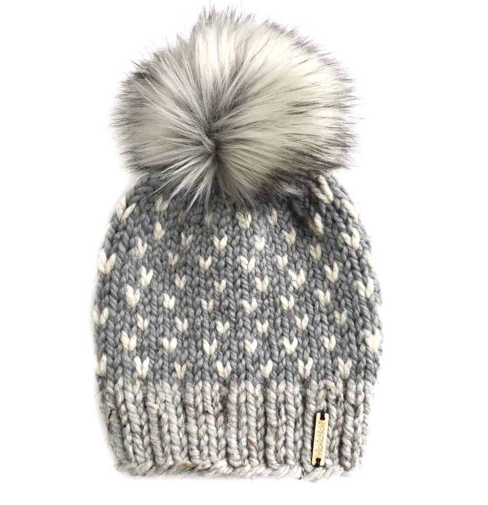 Tiny Hearts Faux Fur Beanie Hat in Shades of Gray