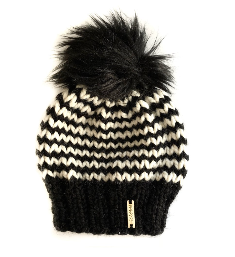 Skinny Stripe Faux Fur Beanie Hat in Zig and Zag