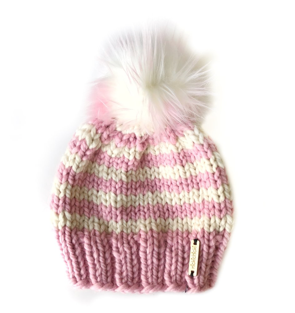 Wide Stripe Faux Fur Beanie Hat in Sugar Plum