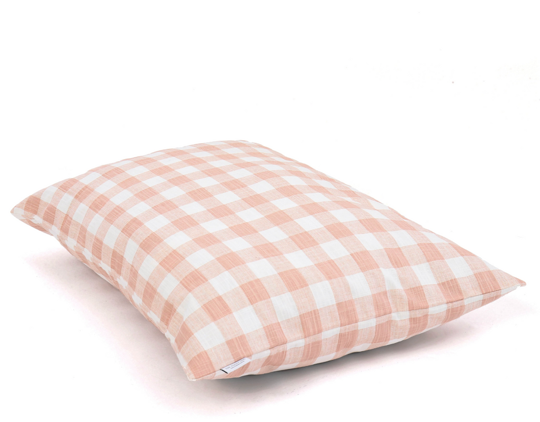 Blush Pink Gingham Check Dog Bed