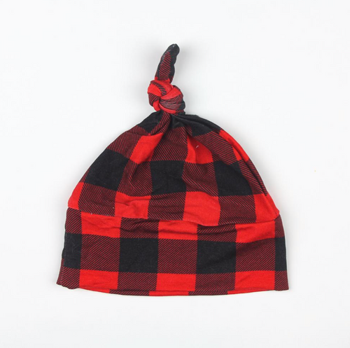 Buffalo Plaid Top Knot Hat