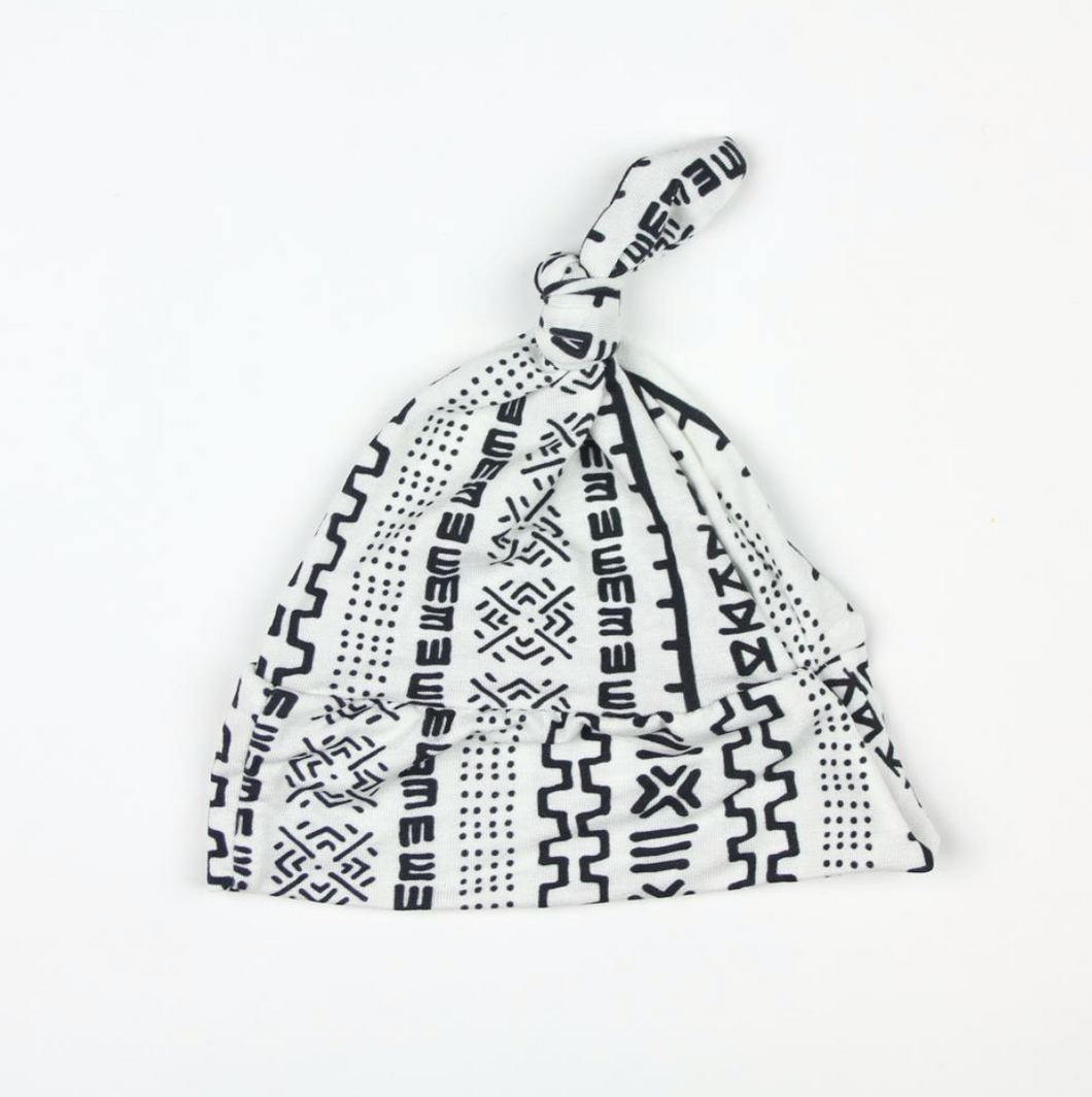 White & Black Geometric Top Knot Hat