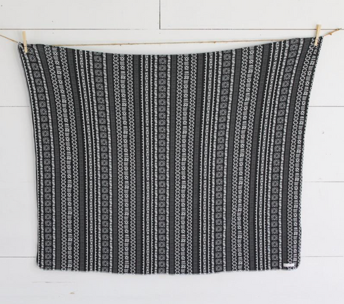 Black Geometric Swaddle Blanket