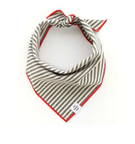 Charcoal Strip Dog Bandana