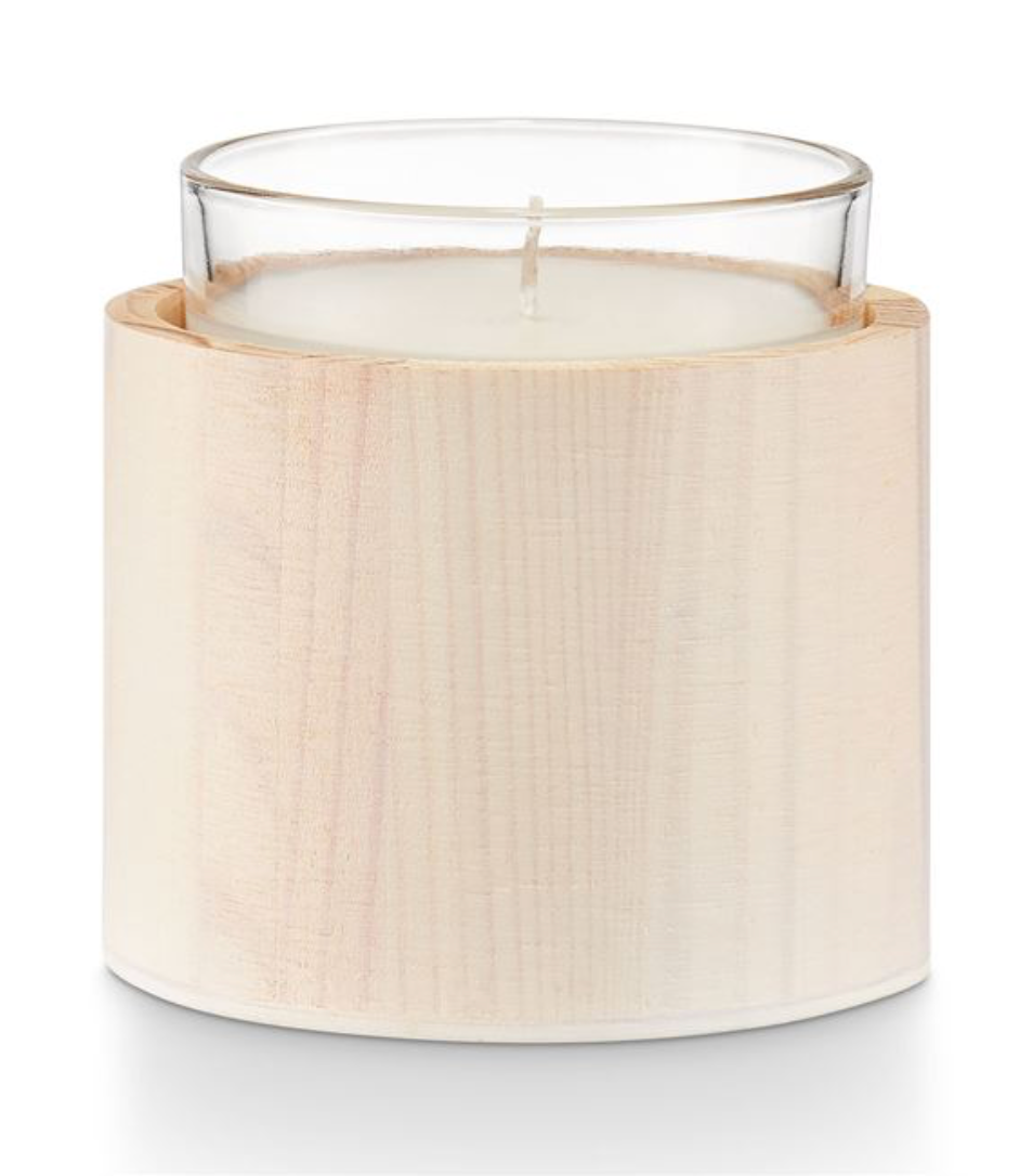 Flowering Linden Washed Wood Glass Candle