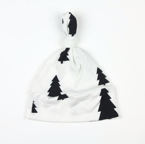 Black and White Trees Top Knot Hat