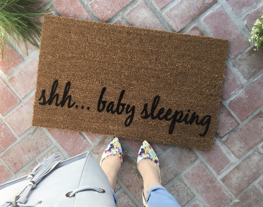 """Shh...baby sleeping"" Doormat"