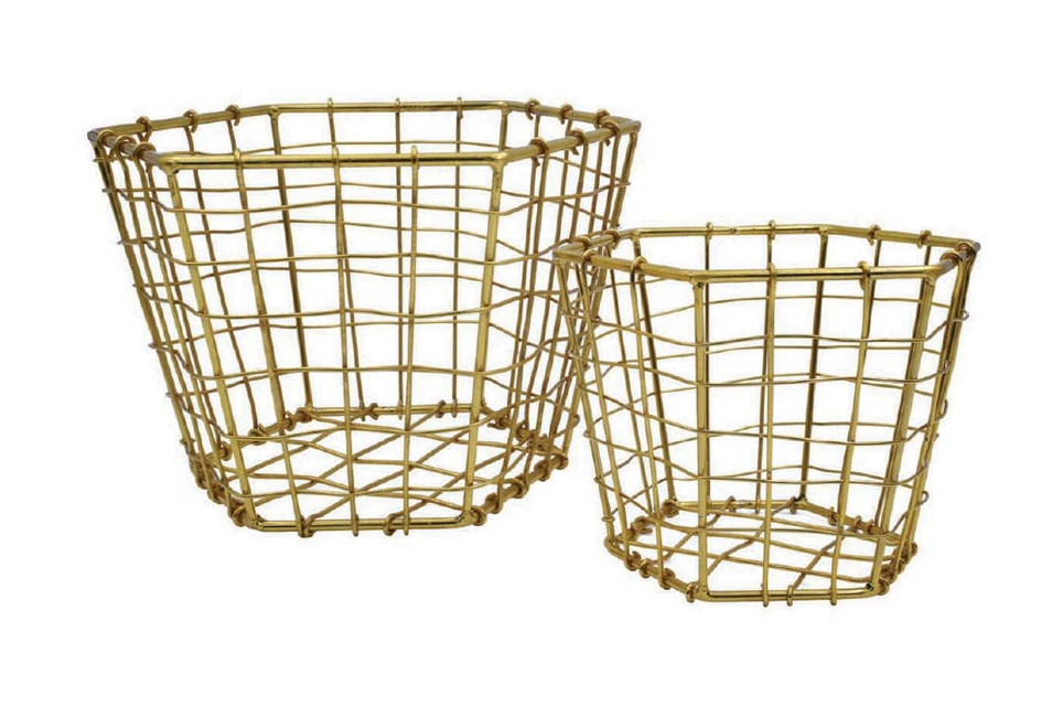 Hexagon Brass Plated Baskets