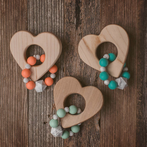 Wood and Silicone Bead Heart Teether