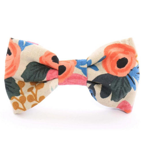 Rosa Floral Natural Dog Bow Tie