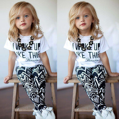 2016 Hot Baby Girls Stripe I Woke Up Like This Toddler shirt and Pants Outfits Set children clothes outfit 2pcs freeshipping