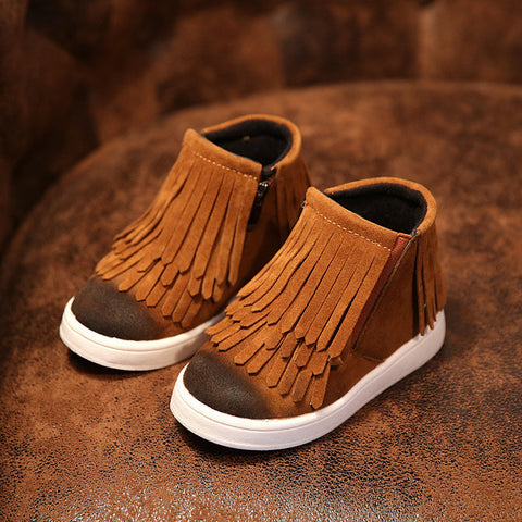 Kids Trainers Baby Shoes Girls Boys Boots 2016  Rubber Boot Baby Fashion Sport Shoes Superfly Original Tassel Shoes Comfortable