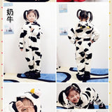 2-11 Girls Boys Flannel Animal Hooded Romper Sleepwear Without Shoes