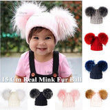 Ins Hot Style Baby Winter 100% Real 2 Mink Fur Ball Beanie Knit Hat for Kids Warm Raccoon Fur Pom Poms Skullies Beanies Wool Cap
