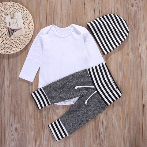 New Spring 0-18M Newborn Toddler Kids Baby Boys Outfit Clothes Solid White T-shirt Hat Top + Striped Pant 3PCS Set drop shipping