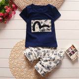 Kids Baby Boys Clothes Sets Toddler Boy Clothing Short Sleeve T-shirt + Jeans Outfit Suit 2017 Summer Children Clothing Set