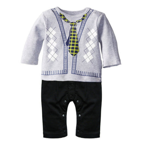 Gentleman Toddler Baby Boy Long Sleeve Romper Printed Jumpsuit Clothes Outfit S01