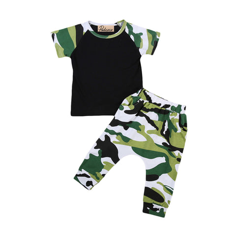 Newest Camouflage Toddler Infant Baby Boys Short Sleeve Cotton T-Shirt Tops Pants Outfits Set Clothes