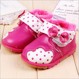 Winter baby shoes girls shoes lovely butterfly-knot warm shoes baby cute dot prewalkers girls soft sole warm toddler shoes girls