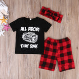 Toddler Kids Baby Boy Outfits Clothes T-shirt Tops+Plaid Shorts